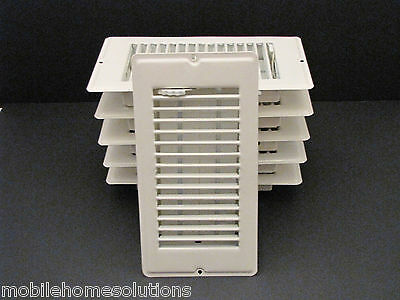 "Mobile Home RV Parts. Floor Register 4"" x 8"". White Metal Floor Vent.  Lot of 6"
