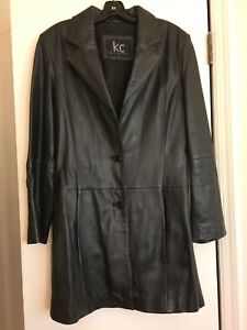 Kenneth Cole Collections Mid length Black Leather Jacket Women's Size Small