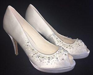 75c69de50 Details about Menbur Vanesa Platform Beaded Heels Pumps Wedding Bridal Ivory  White Peep Toe