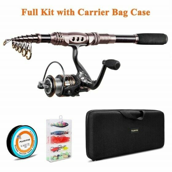 Spinning Rod & Reel Combos Carbon Telescopic Freshwater Fishing  Kits 4sz Choices  sale online