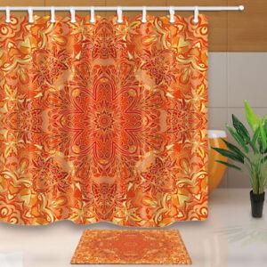 Details About Orange Wallpaper Lover Vector Flower Pattern Polyester Fabric Shower Curtain Set