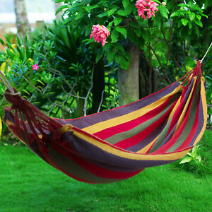 Premium Garden Camping Canvas Hammock Lightweight Hang Bed Outdoor Travel Swing