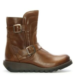 4a0dd334122 Details about Fly London Sven Biker Ankle Boots In Camel