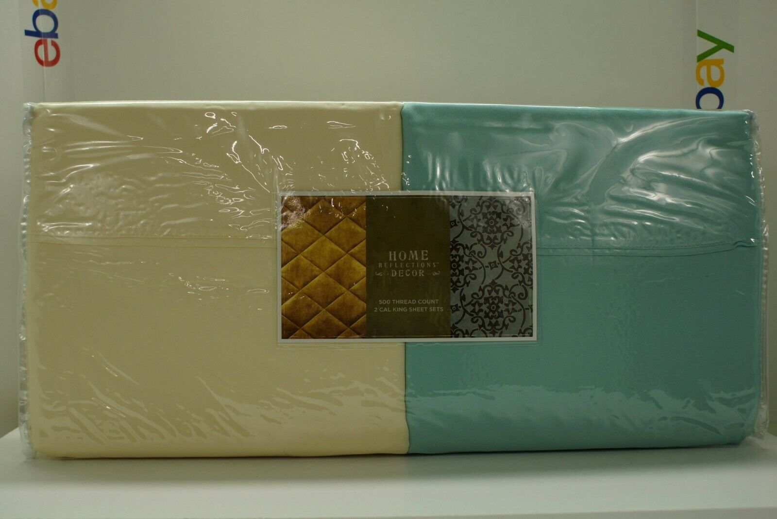 Home Reflections QVC 500 500 500 Thread Count Cal King Sheet Set Seaglass Ivory w Cases 6dd2ff