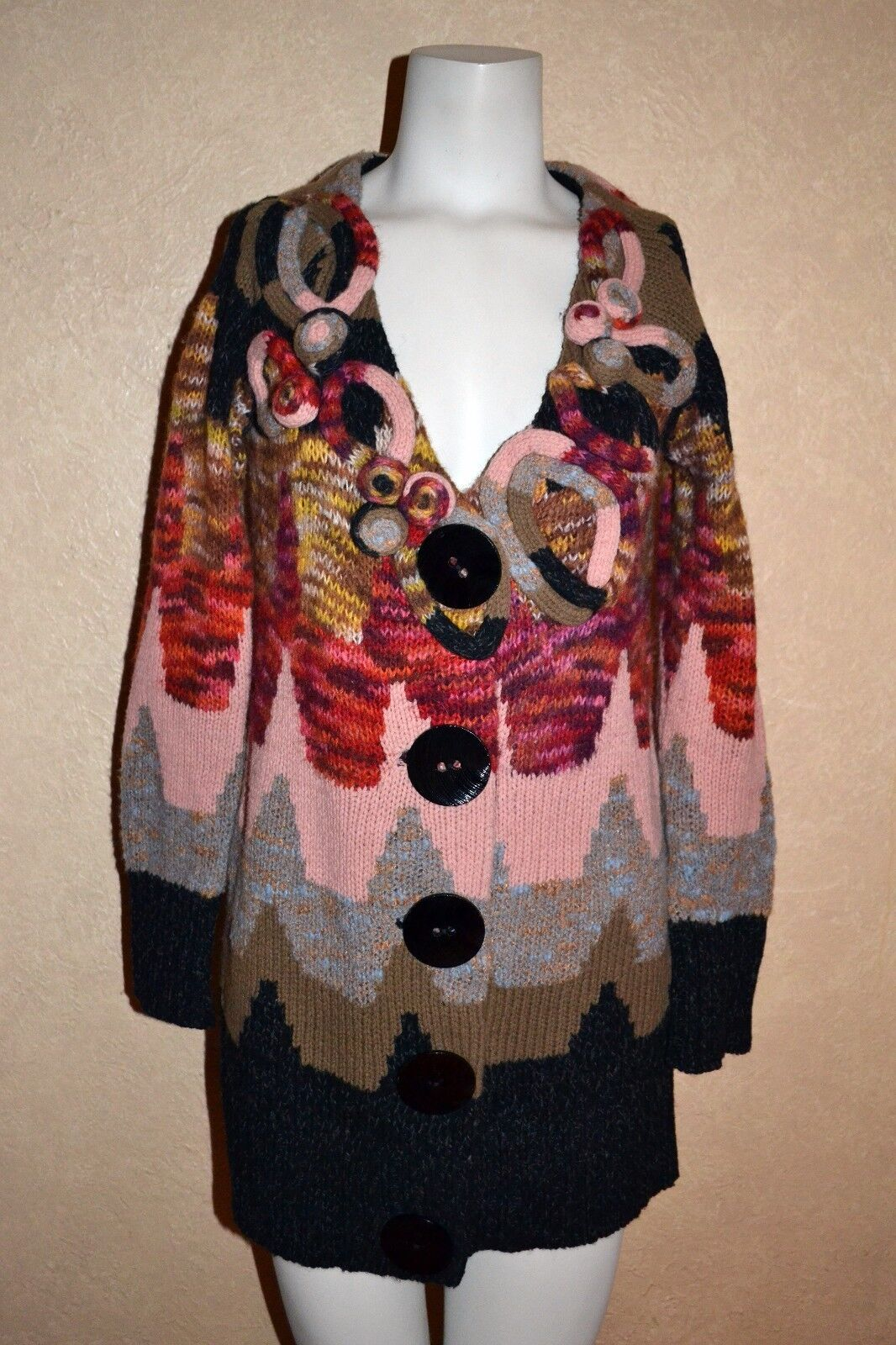 ANTHROPOLOGIE SLEEPING ON SNOW SNOW SNOW 3D Knit pinks Cardigan Sweater Lg Buttons M RARE d24c15