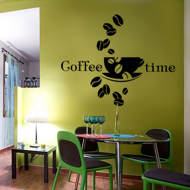 Wandtattoo Wandbild Küche Kaffee Bohnen Tasse Cafe Aufkleber Coffee WT108