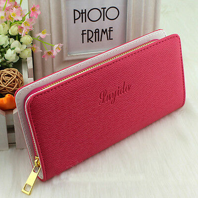 Hot Lady Women Fashion Faux Leather Wallet Zip Around Case Purse Card Money Long