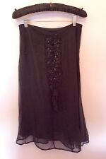 NIGHT BY BIRGER ET MIKKELSEN BLACK SEQUIN TRIM SILK SKIRT SIZE 36 UK 8