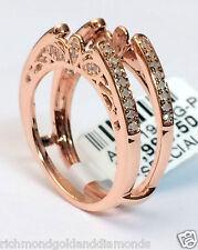 Antique Vintage Cathedral Ring Diamonds Guard Solitaire Enhancer 10k Rose Gold