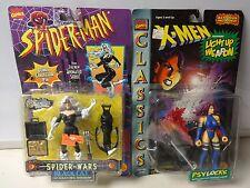 Vintage 1996 Toy Biz Spiderman Black Cat and X-Men Psylocke Action Figures MOC