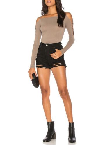 Free People Womens Cross Shoulders OB678172 Top Skinny Neutral Brown Size XS//S