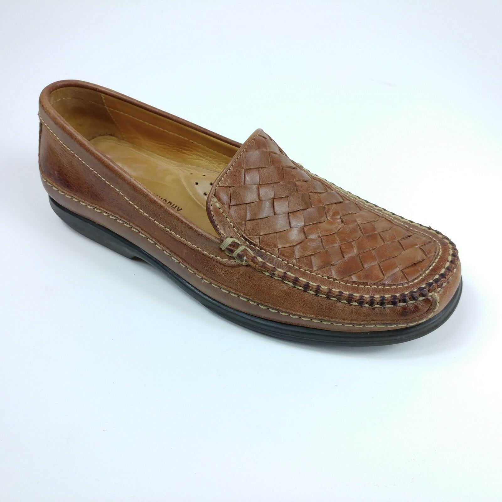 Johnston Murphy Mens 8.5 Leather Woven Loafer Tan Brown Mock Toe