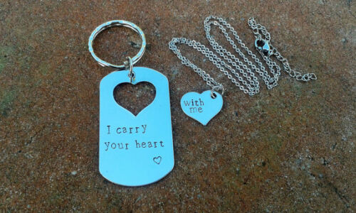 I Carry Your Heart With Me His and Hers keyring keychain and necklace set