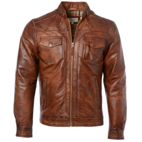 Distressed Tan Mens Ashwood Slim Fit Soft Leather Vintage Biker Jacket 1895