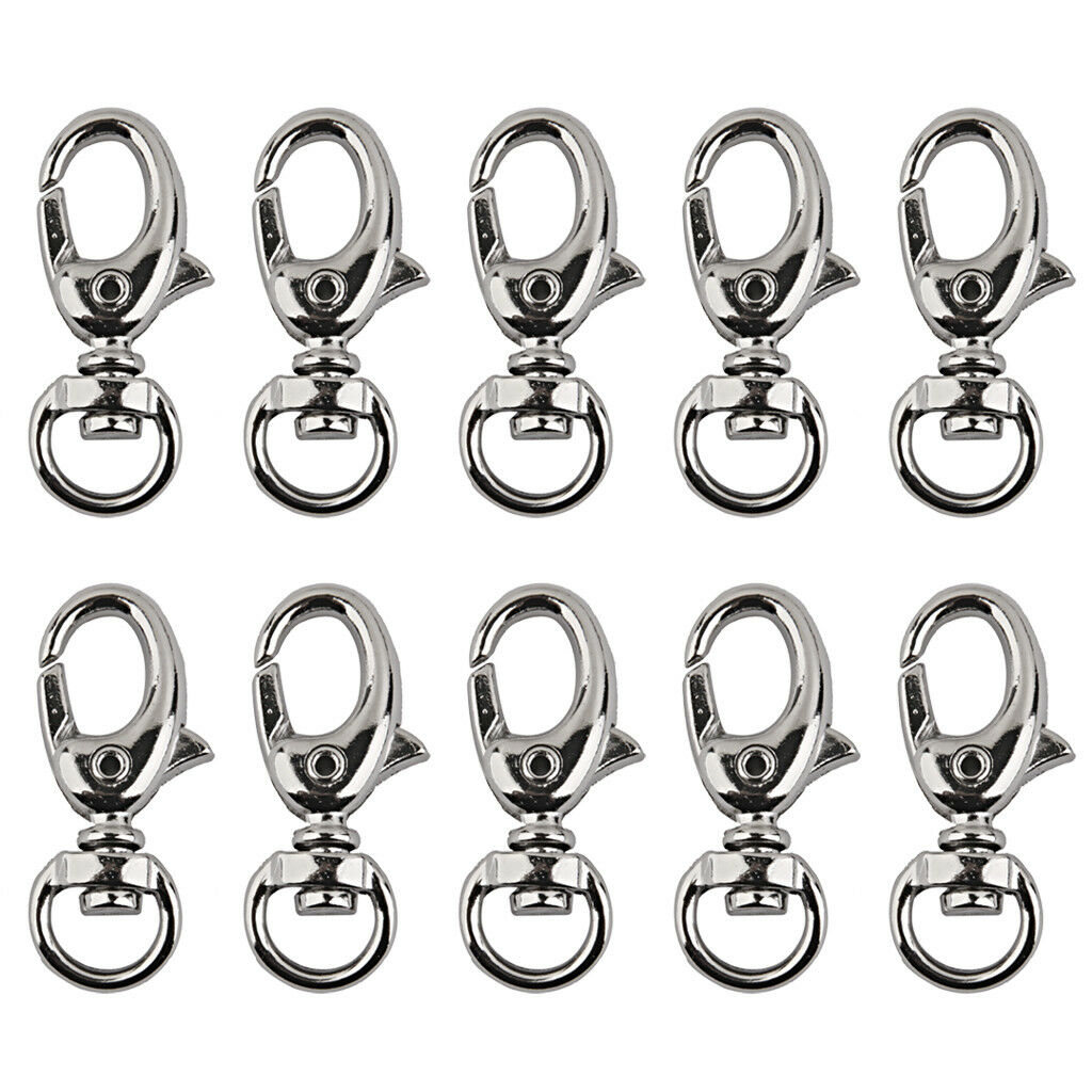 10x Swivel Clips Snap Hook Lobster Clasps for 9mm Strap Keychain Bag
