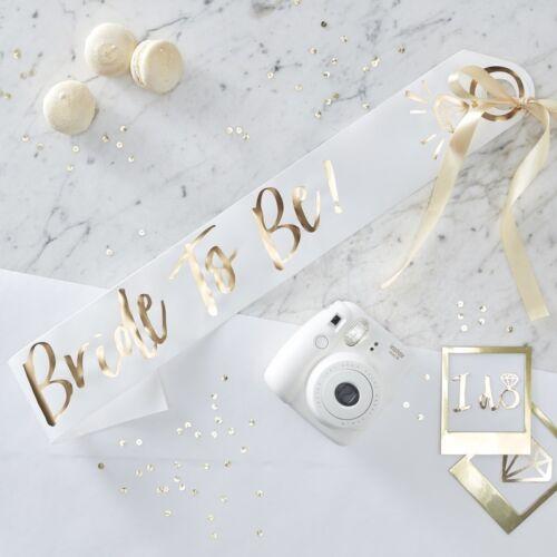 accessoires Bride To Be-écharpe-blanc et or déjouée enterrement vie jeune fille HEN NIGHT