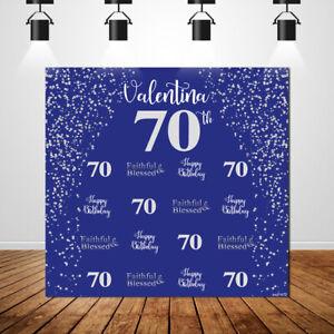blanco azul real telones de fondo personalizado 70th cumpleanos fondo photobooth banner ebay usd