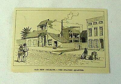 1887 magazine engraving ~ New Orleans THE SPANISH QUARTER
