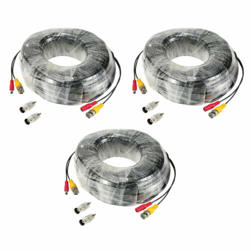 3* 196ft Long BNC DC Connector Wired Power Video Cable for CCTV Camera Kit T2D3