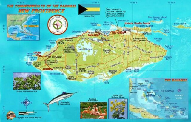 Nassau Historic Walking Tour Providence Island Bahamas Maps Laminated Card