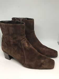 c64920ae86 Women's Nine West Solaris Ankle Boots Shoes Size 8M Brown Suede Side ...