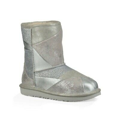 d9e1a4fb0be NEW Ugg Classic Short Glitter Silver Patchwork leather boots size 10  authentic 191142731027 | eBay