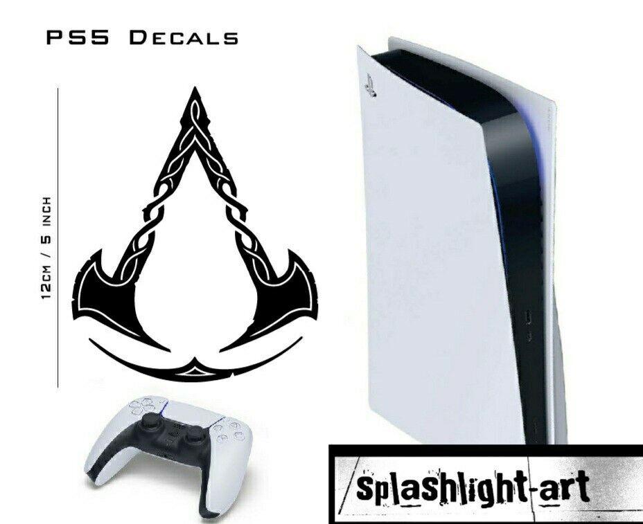 2x ASSASSINS CREED VALHALLA PS5 Vinyl 12cm Console Decal Sticker Playstation 5