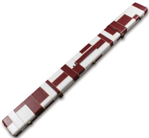 WHITE HANDMADE 3 COMPARTMENTS QUALITY WIDE 3//4 CUE CASE HOLDS 2 CUES PINK