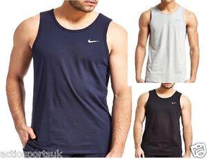 Men-039-s-Nike-Embroided-Swoosh-Gym-Tee-T-Shirt-Plain-Tank-Top-Training-Vest-S-XL