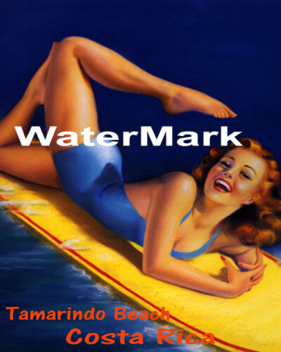 POSTER TAMARINDO BEACH COSTA RICA GIRL SURFING FUN SURF VINTAGE REPRO FREE S//H