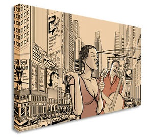Details About Street Jazz Band Duo Black Woman Afro Art Canvas Wall Art Picture Print