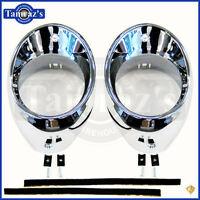66-67 Chevelle Air Vent Heat A/c Dash Outlet Ball Bezel Only Chrome - Pair