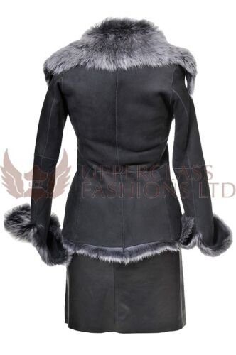Sheepskin Coat Ladies Women's Leather Brissa Toscana Jacket Real Black ag7Bqg