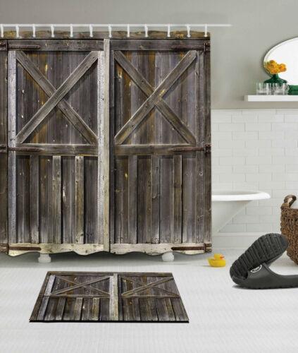 72x72/'/' Barn wood door Bathroom Waterproof Fabric Shower Curtain 12 Hooks /& Mat