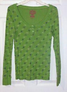 PINK-Victoria-039-s-Secret-Sz-M-Green-Henley-Top-Mushrooms-Acorns