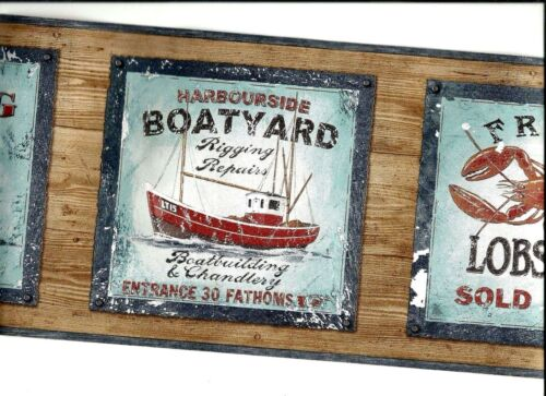 FISHING SIGNS WOODEN BACKGROUND WALLPAPER BORDER  PB58047