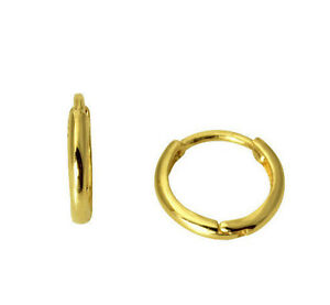 14K-Real-Yellow-Gold-1-5mm-Width-Small-Tiny-Huggies-Earrings-Baby-and-Children