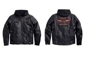 db7bf3e4c313 Harley Davidson Men s Rocker 3 in 1 Leather Jacket Hood 97037-15VM L ...