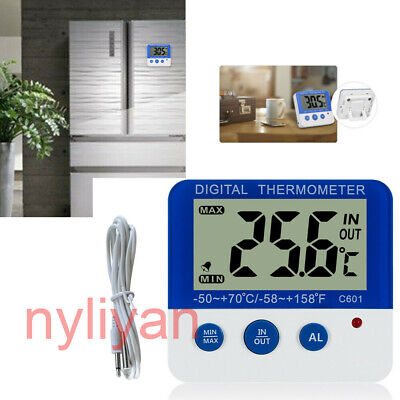 Home Digital Thermometers ℃//℉ Electronic Temperature Freezer LED Alarm # C606