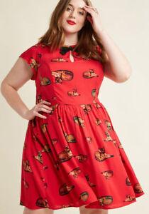 Modcloth Bow Front A-Line Dress Red Cat Print Retro Plus Size 1X 2X ...