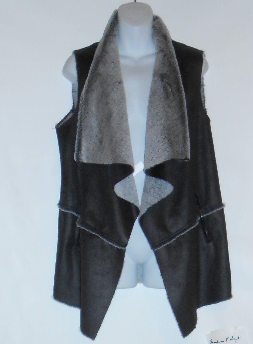 Jones New York Signature Woman Plus Size Faux Leather Asymmetrical Vest 1X NWT