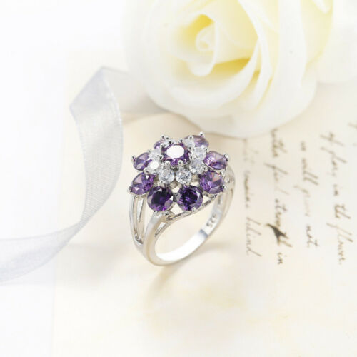 Angel/'s Wing Design Naturel Violet Améthyste Gems Silver Lady Anneaux Taille 7 8 9