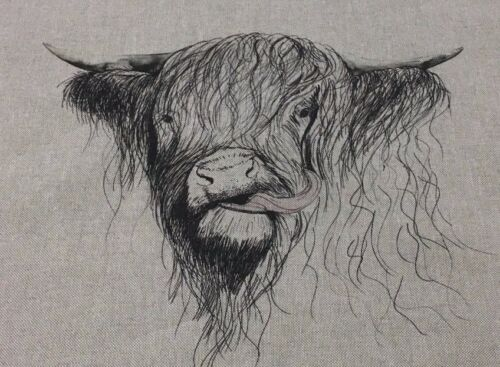 Highland Cow Linen// Cotton Fabric Panel Make A Cushion  Craft