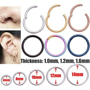 Surgical Steel Nose Ring Septum Clicker Hinged Segment Ear Tragus Rings Hoop
