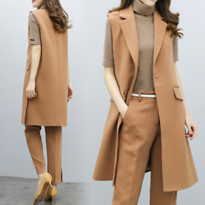 2pcs Womens Long Knee Length Slim Fit Suit Vest Coats Plants Formal Button NEW