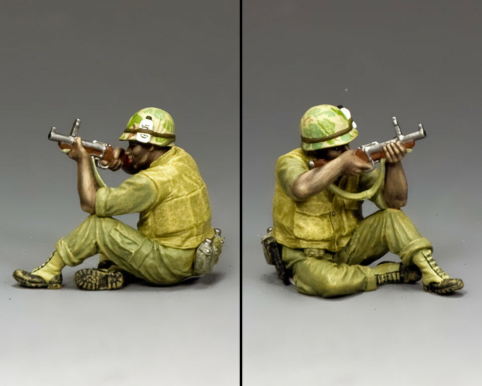 KING & COUNTRY VIETNAM WAR VN010 U.S. MARINE SITTING FIRING M79 BLOOPER GUN MIB