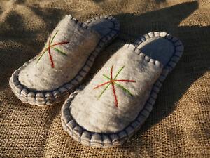 Filz-Hausschuhe-Handarbeit-aus-Kirgisien-Filzpantoffeln-Filzpuschen-Filzlatschen
