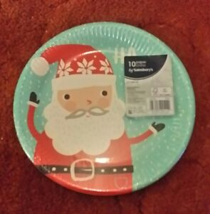 Image is loading santa-paper-plates-sainsburys-10pk-kids-christmas-table- & santa paper plates sainsburys 10pk kids christmas table free uk pu0026p ...