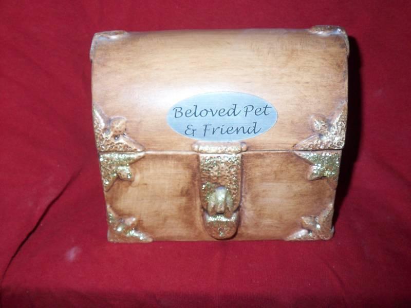 Ceramic gold Treasure Chest Pet Urn cremation memorial