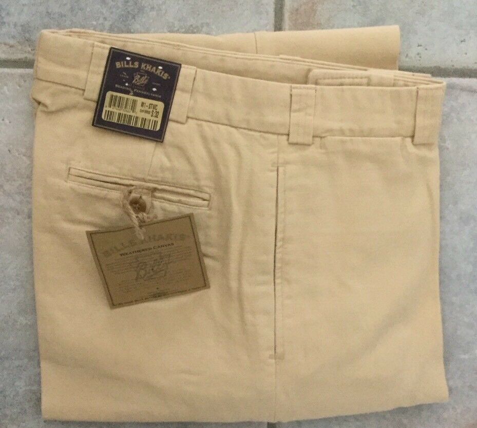 NWT- Bills Khakis M1-STWC WEATHERED CANVAS Plain SZ-37 Straw MSRP